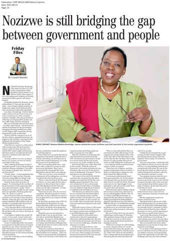 Bridging the gap between government and people. Nozizwe Madlala-Routledge